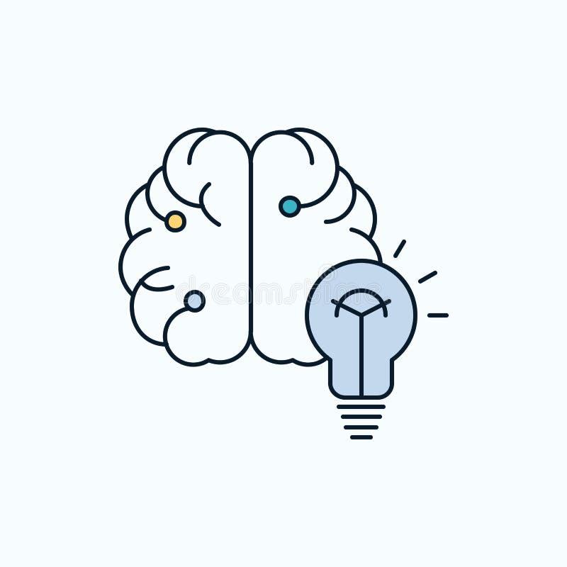 ideia, negócio, cérebro, mente, ícone liso do bulbo sinal e s?mbolos verdes e amarelos para o Web site e o appliation m?vel Vetor ilustração do vetor