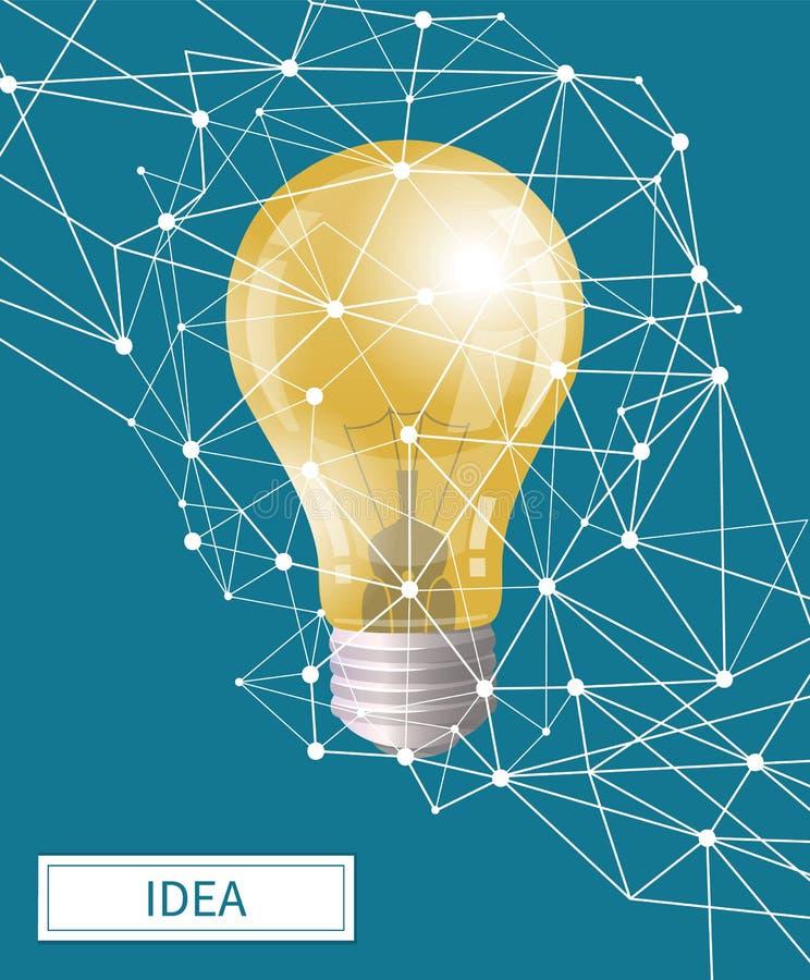 Ideia no bulbo elétrico do negócio com vetor das formas ilustração do vetor