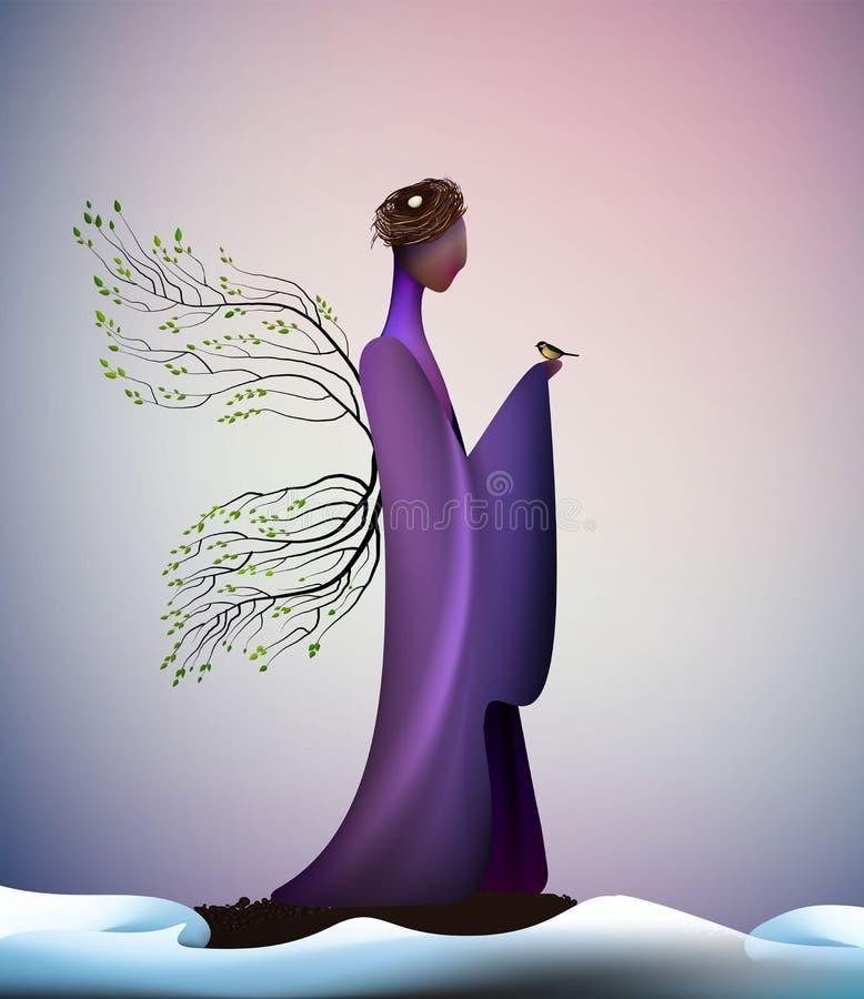 Ideia nova do olhar da mola bonita, mola contemporânea nova, anjo fantástico da mola do ícone da fantasia da mola, silhueta do an ilustração royalty free