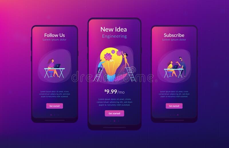 Ideia nova que projeta o molde da relação do app ilustração stock