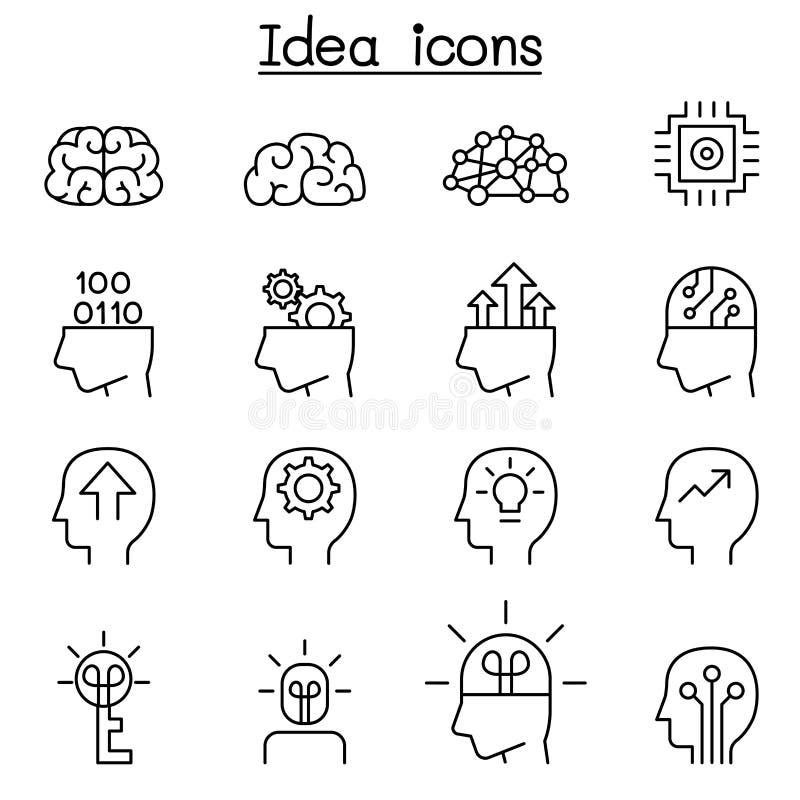 A ideia & o ícone criativo ajustaram-se na linha estilo fina ilustração royalty free