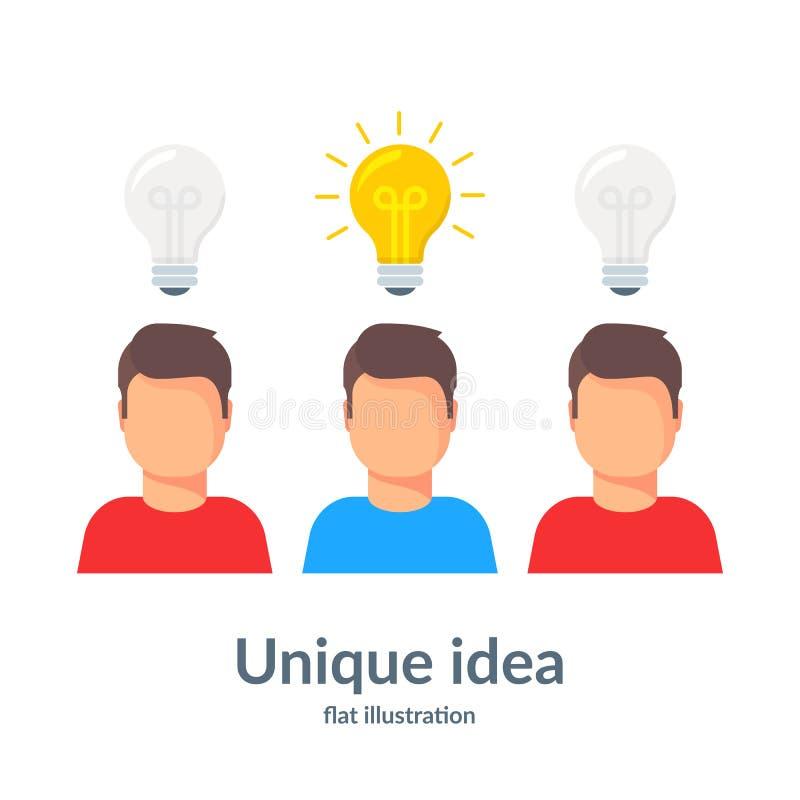 Ideia original Pessoa com da ampola da posição uma ilustração principal para fora Ilustração lisa do vetor ilustração royalty free