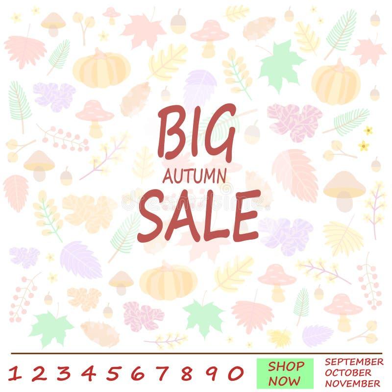 Ideia para a bandeira da venda do outono para a promoção de compra do disconto ilustração royalty free