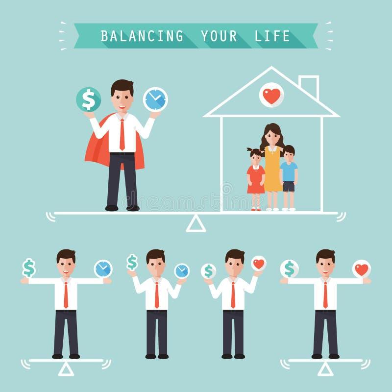 Ideia que equilibra seu conceito do negócio de vida ilustração stock