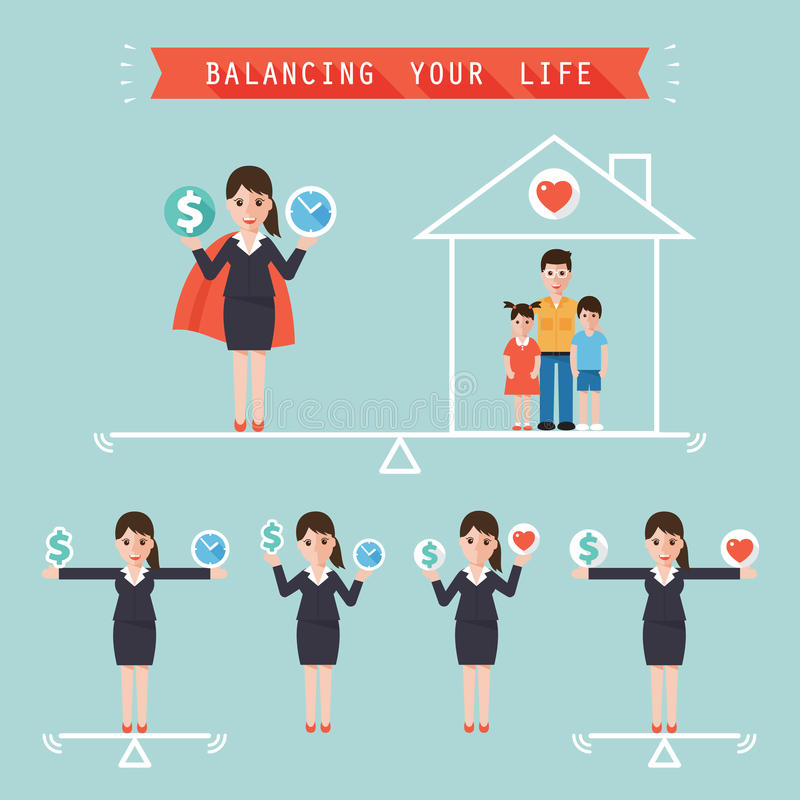 Ideia que equilibra seu conceito do negócio de vida ilustração do vetor