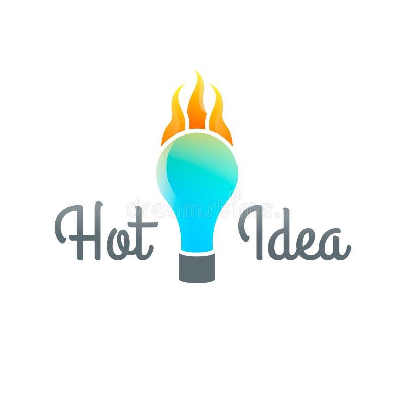 Ideia quente Logo Template Conceito da idéia, ilustração do vetor Projeto creativo Incêndio flama queimadura introspecção ilustração royalty free
