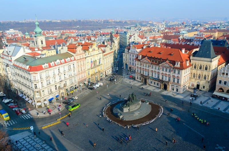 Ideia superior bonita do centro histórico do olhar fixo Mesto de Praga, praça da cidade velha, República Checa fotografia de stock royalty free