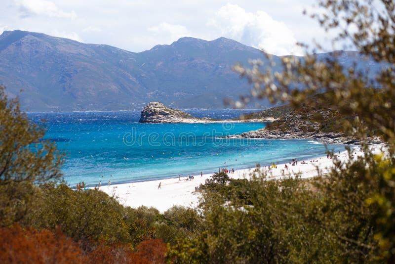 Ideia superior da Córsega, do França, das montanhas e do fundo do mar de turquesa Vista horizontal fotos de stock