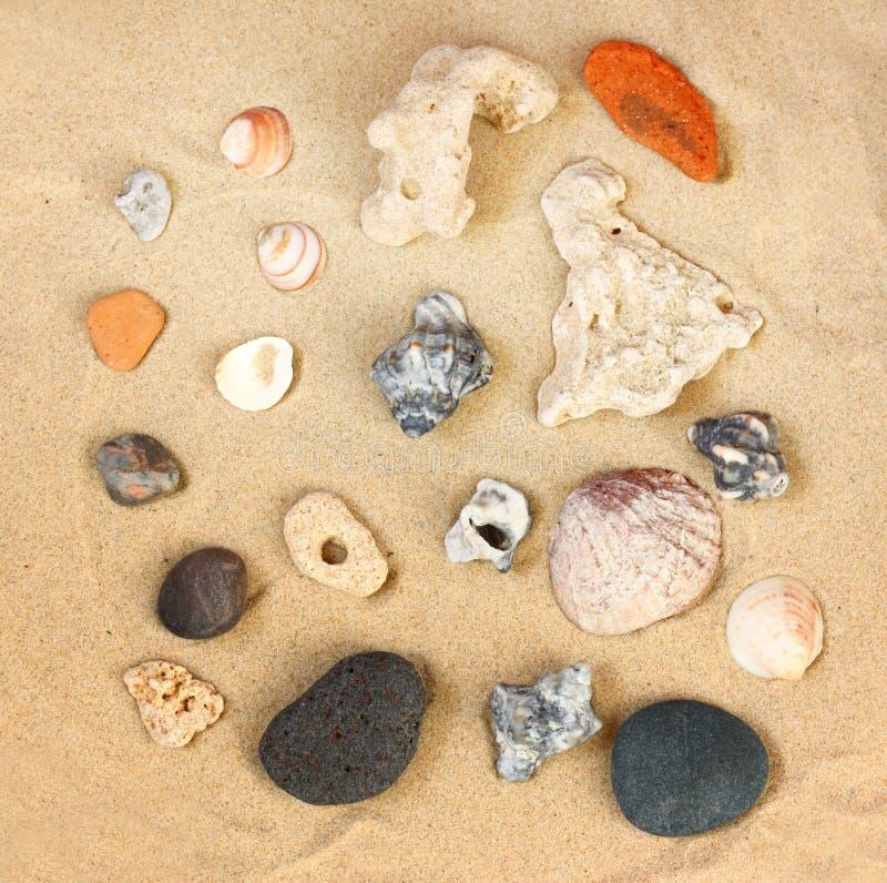 A ideia superior da coleção da praia apedreja a rocha e os shell sobre a areia foto de stock