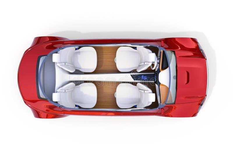 Ideia superior de interior autônomo cortante do ` s do carro ilustração royalty free