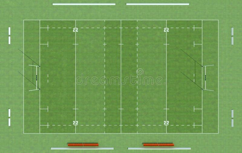 Ideia superior de um campo do rugby ilustração do vetor