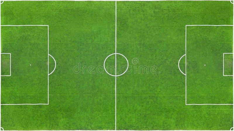 Ideia superior de um campo de futebol verde como a textura, fundo imagem de stock