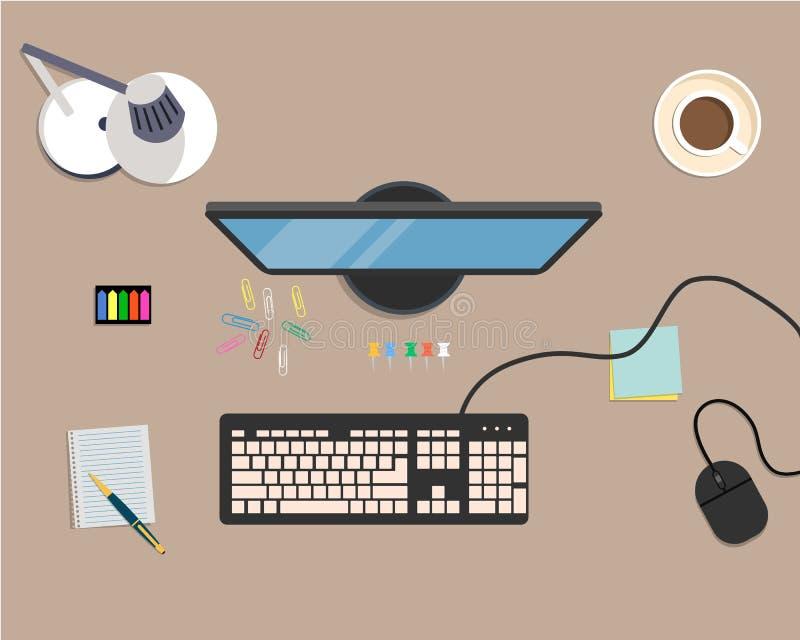 Ideia superior de um fundo da mesa, onde haja um monitor, um teclado, um rato do computador, uma lâmpada de mesa e uns artigos de ilustração do vetor