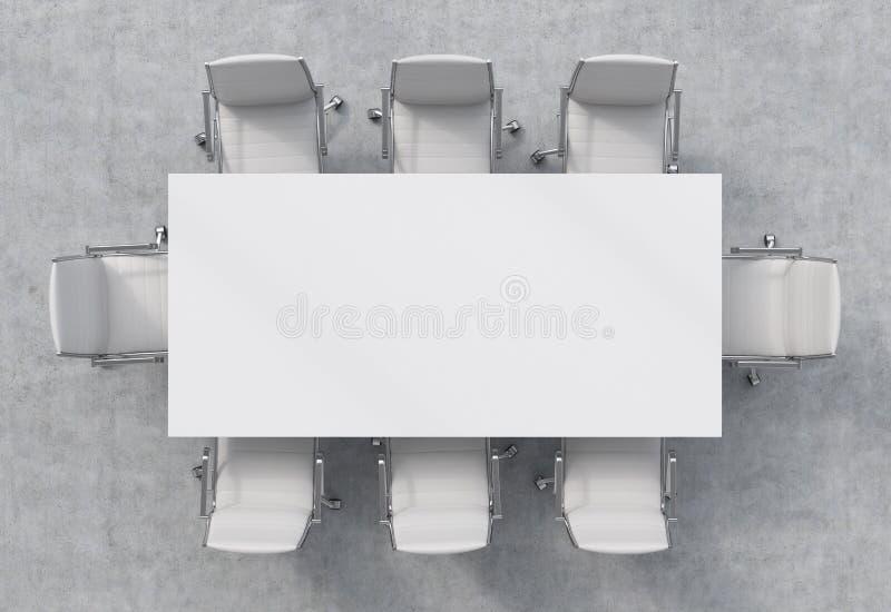 Ideia superior de uma sala de conferências Uma tabela retangular branca e oito cadeiras ao redor ilustração do vetor