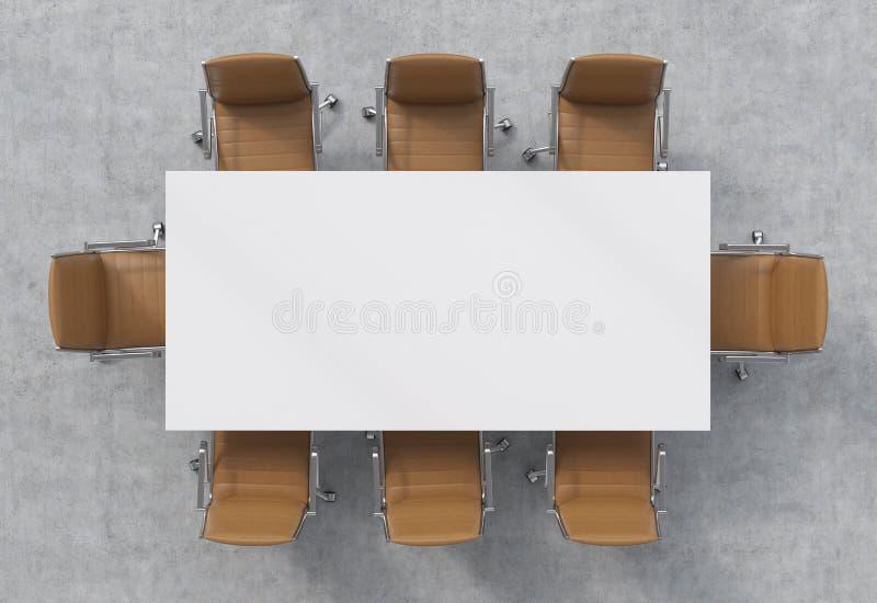 Ideia superior de uma sala de conferências Uma tabela retangular branca e oito cadeiras de couro marrons ao redor interior 3D ilustração stock