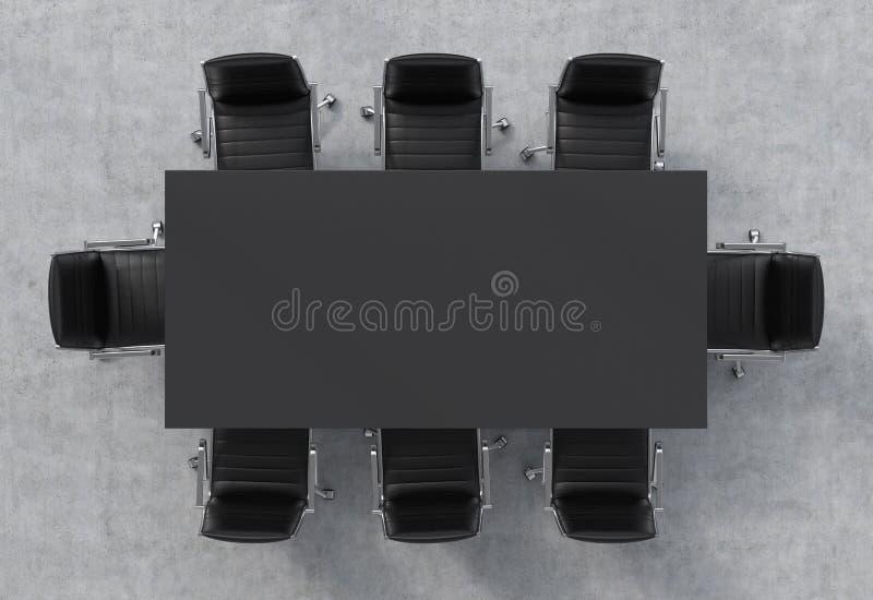 Ideia superior de uma sala de conferências Uma tabela retangular preta e oito cadeiras de couro pretas ao redor ilustração royalty free