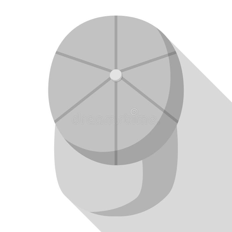Ideia superior do ícone cinzento do boné de beisebol, estilo liso ilustração do vetor