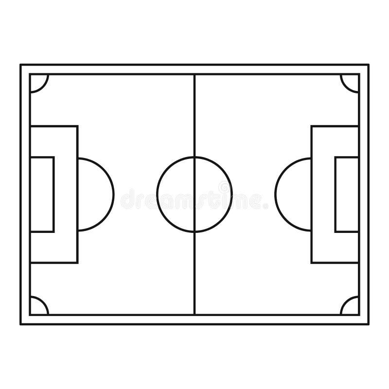 Ideia superior do ícone do campo de futebol, estilo do esboço ilustração stock