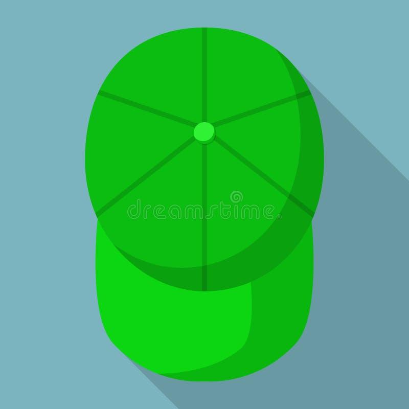 Ideia superior do ícone verde do boné de beisebol, estilo liso ilustração do vetor