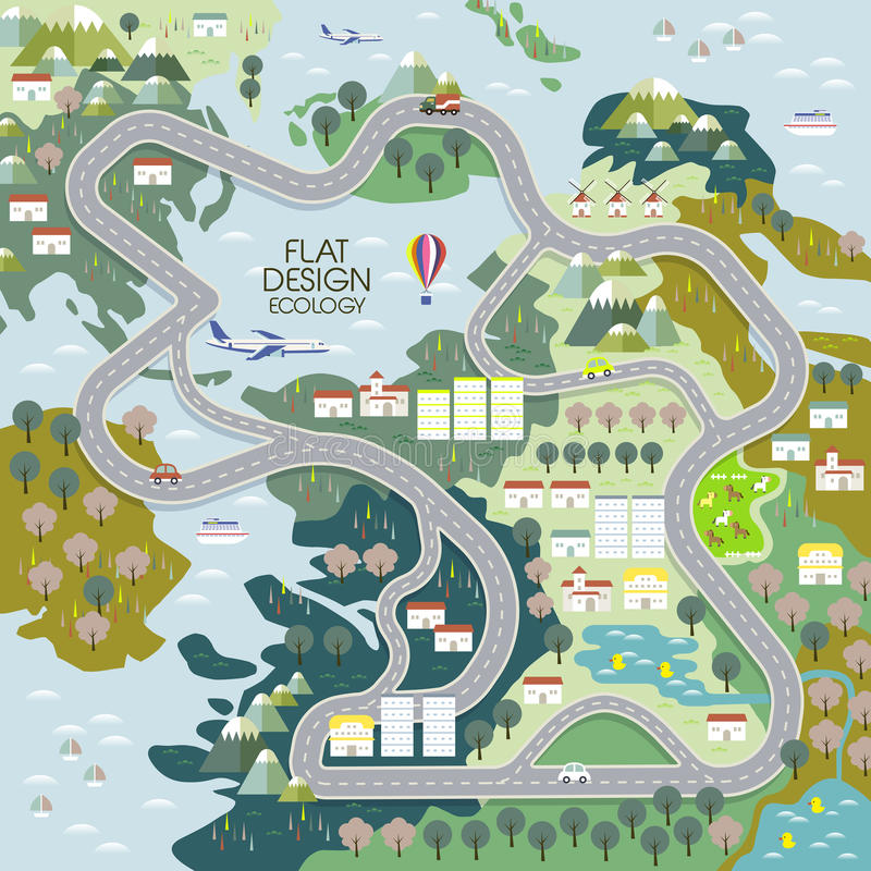 Ideia superior do conceito da ecologia no plano ilustração royalty free
