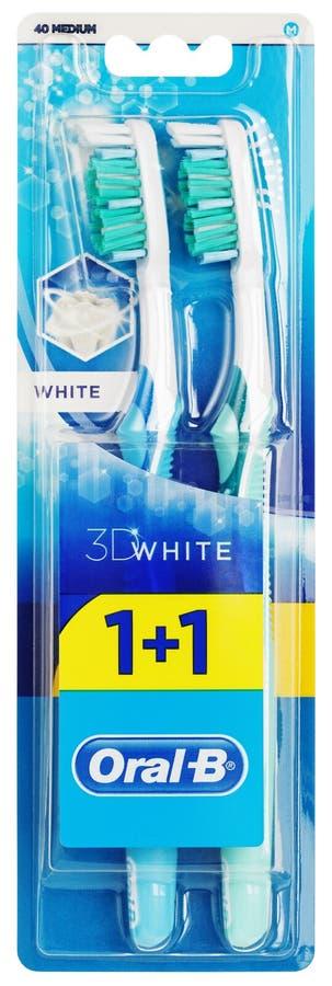 Ideia superior do empacotamento branco oral-b do toothbrushe 3D isolado no branco imagem de stock