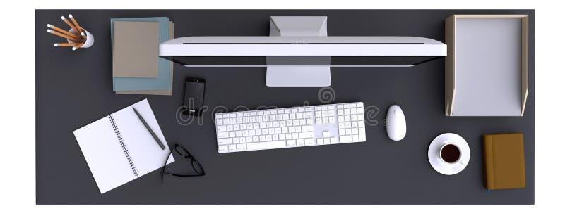 Ideia superior do espaço de trabalho com computador e dos outros elementos na tabela ilustração do vetor