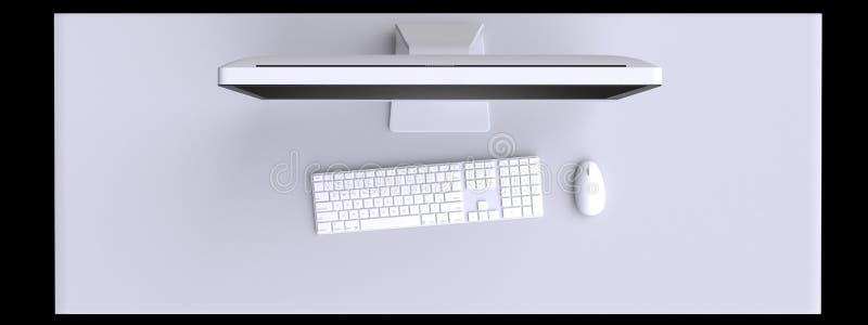 Ideia superior do espaço de trabalho com computador e dos outros elementos na tabela ilustração stock