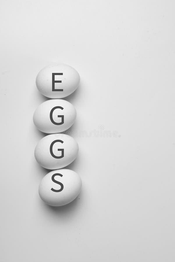 Ideia superior do estilo do minimalismo do fundo branco de quatro ovos que cultiva o espaço natural orgânico da cópia do conceito imagem de stock royalty free