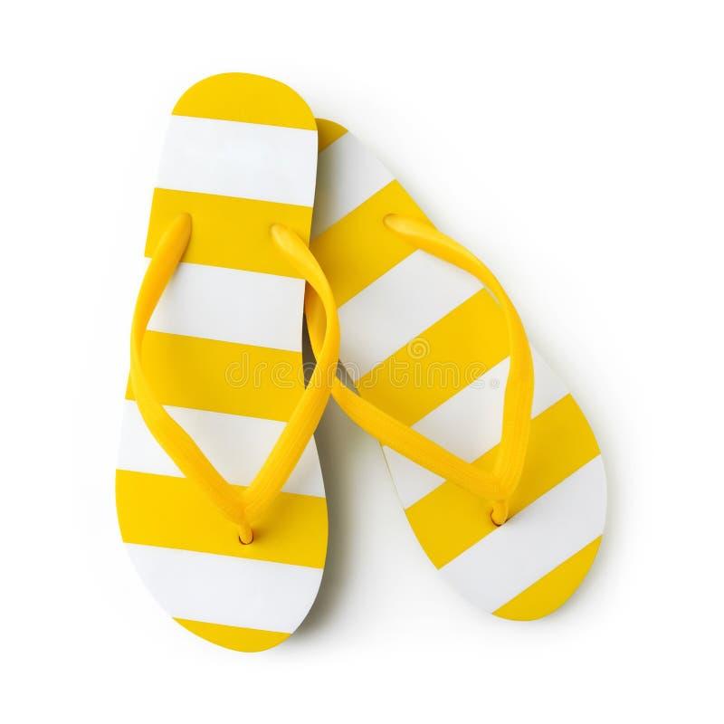 Ideia superior do falhanço de aleta listrado amarelo da praia do verão isolado nas férias do feriado do mar do fundo e no conceit fotografia de stock royalty free
