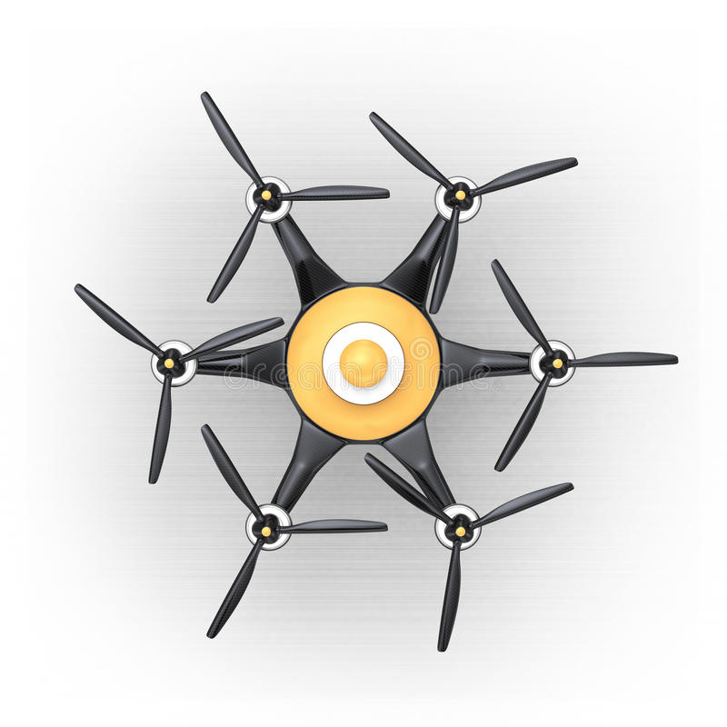 Ideia superior do hexacopter com tampa da fibra do carbono ilustração stock