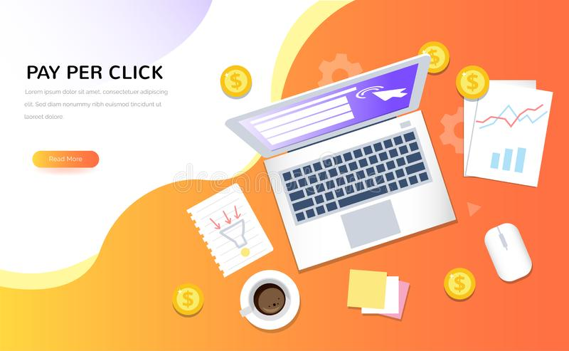 Ideia superior do Internet que anuncia símbolos Pagamento pelo conceito do vetor do clique Ilustração criativa do negócio no esti ilustração stock