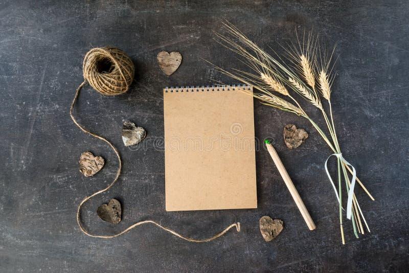A ideia superior do ofício recicla o caderno de papel com grupo do spi do trigo imagens de stock royalty free