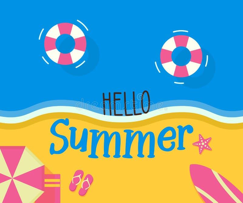 Ideia superior do projeto retro alegre da costa da praia com olá! mensagem do verão Com objetos do verão Projeto da ilustração do ilustração stock