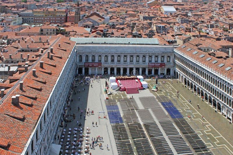 Ideia superior do quadrado de St Mark em Veneza It?lia imagens de stock royalty free