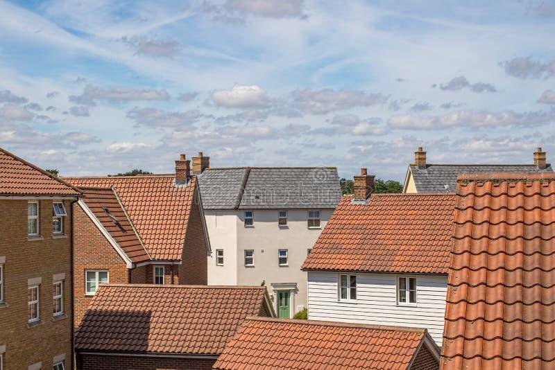 Ideia superior do telhado do bairro social urbano moderno foto de stock