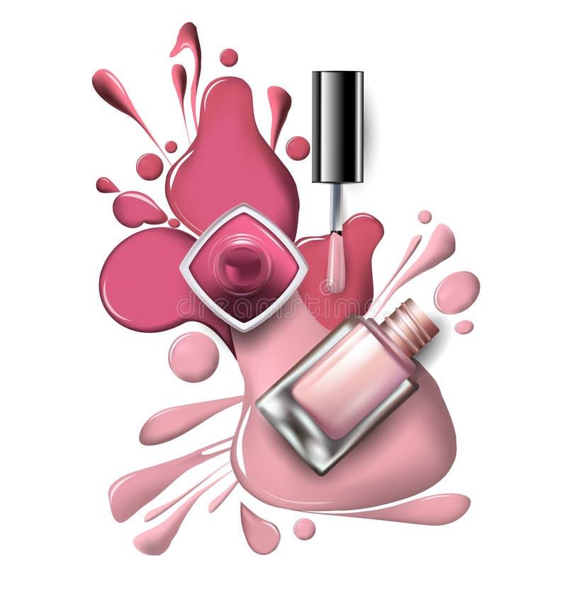 Ideia superior do verniz para as unhas cor-de-rosa, lilás nos cosméticos brancos do fundo e do vetor do fundo da forma ilustração royalty free