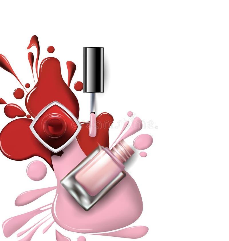 Ideia superior do verniz para as unhas cor-de-rosa, lilás nos cosméticos brancos do fundo e do vetor do fundo da forma ilustração stock
