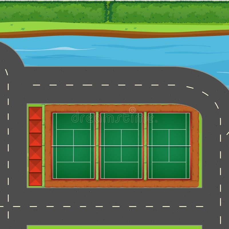 Ideia superior dos campos de tênis ilustração royalty free