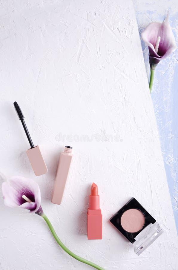 Ideia superior dos mascars, escova, flores na superfície branca e azul Tiro vertical fotografia de stock royalty free