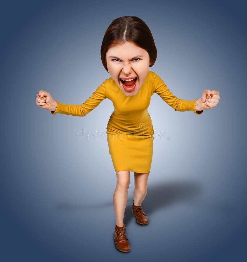 Ideia superior furiously de gritar, mulher irritada dos desenhos animados com bi fotos de stock royalty free