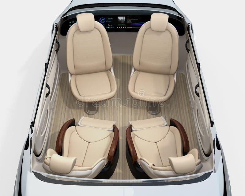 Ideia traseira da imagem decondução do cutaway do carro ilustração royalty free
