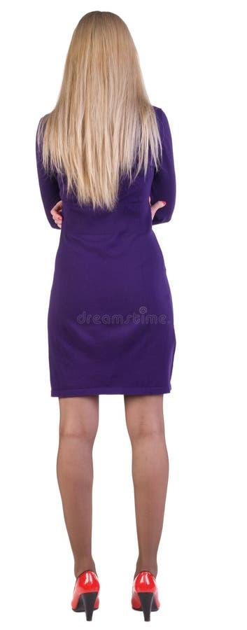 Ideia traseira de estar a mulher de negócio bonita. foto de stock