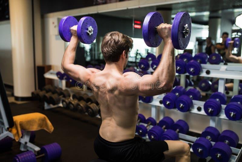 Ideia traseira de um exercício pesado fazendo masculino novo com pesos foto de stock
