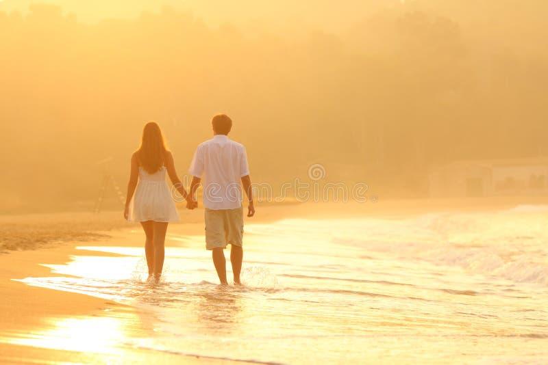 Ideia traseira de um par no por do sol que anda na praia fotografia de stock