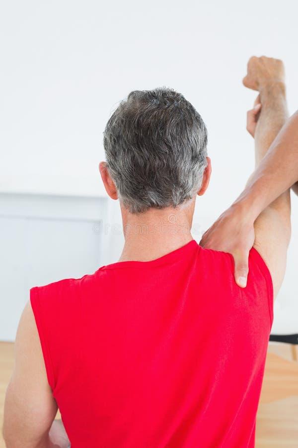 A ideia traseira de uma massagem do fisioterapeuta madura equipa o braço fotografia de stock