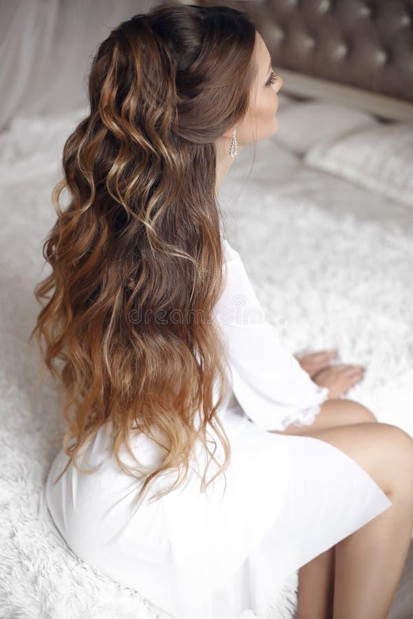 Ideia traseira do penteado do casamento Noiva moreno bonita Portrai fotos de stock royalty free