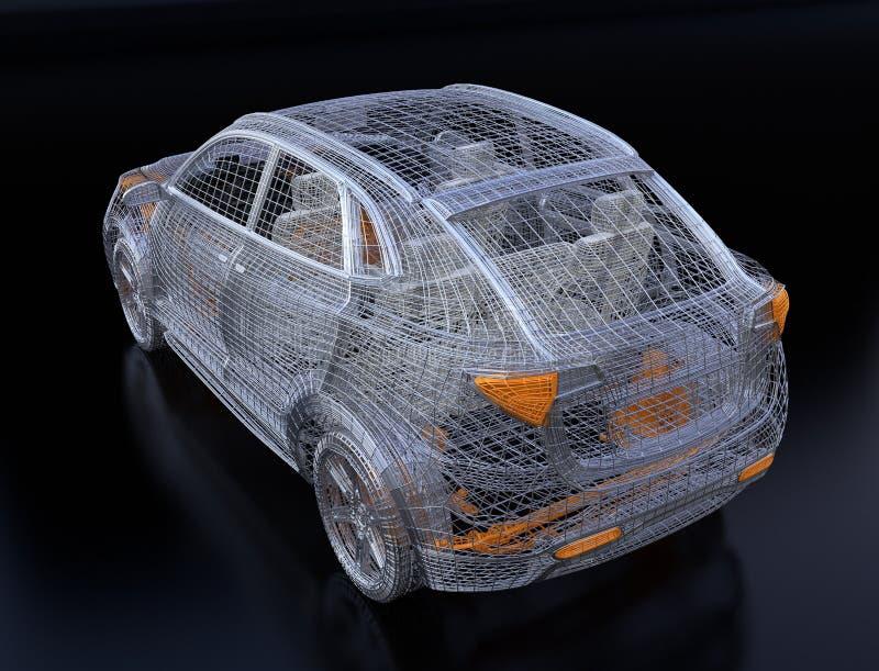 Ideia traseira do quadro de prata e amarelo do fio de SUV elétrico no fundo preto ilustração stock