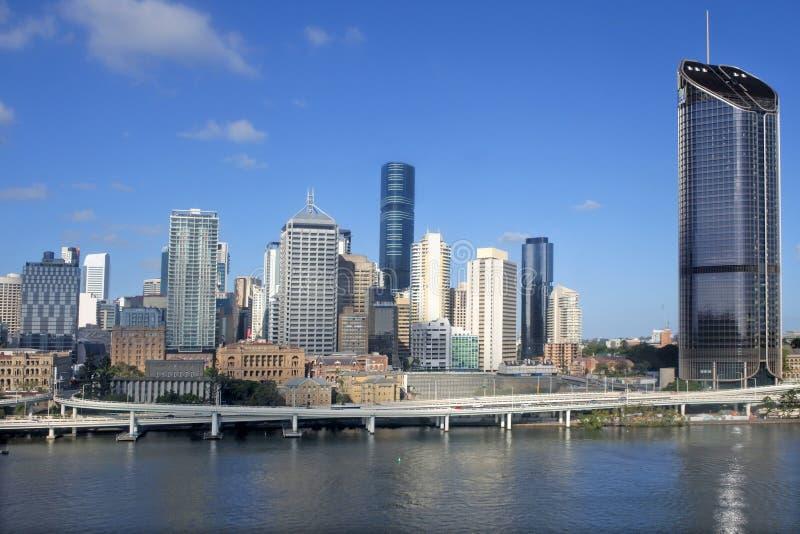 Ideia urbana aérea da paisagem da skyline do centro da cidade de Brisbane foto de stock royalty free