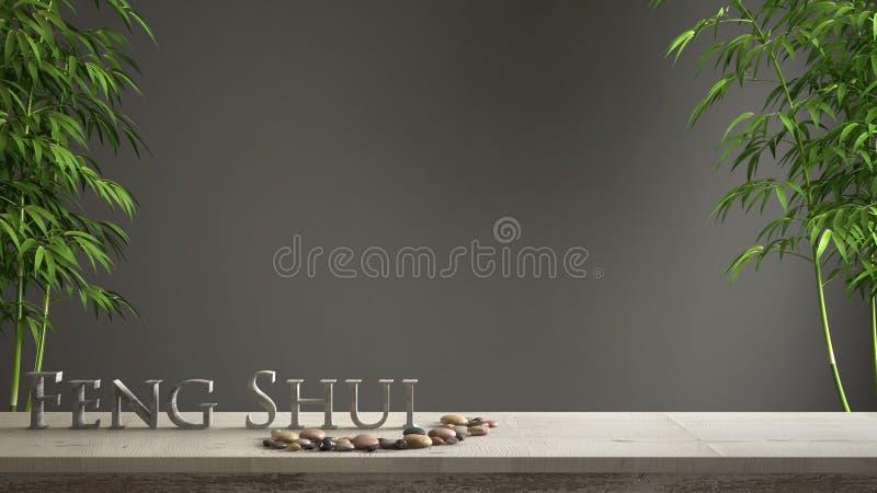 Ideia vazia do zen do conceito de design de interiores, tabela do vintage ou prateleira de madeira com equilíbrio de mármore, bam foto de stock