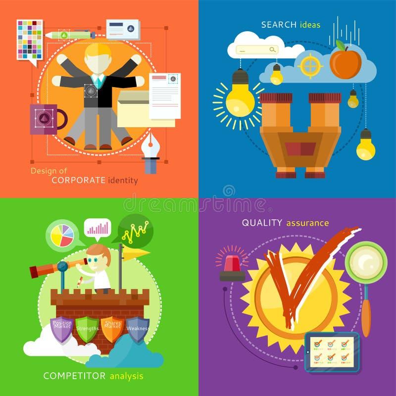 Ideias da busca, análise do concorrente, identidade ilustração stock